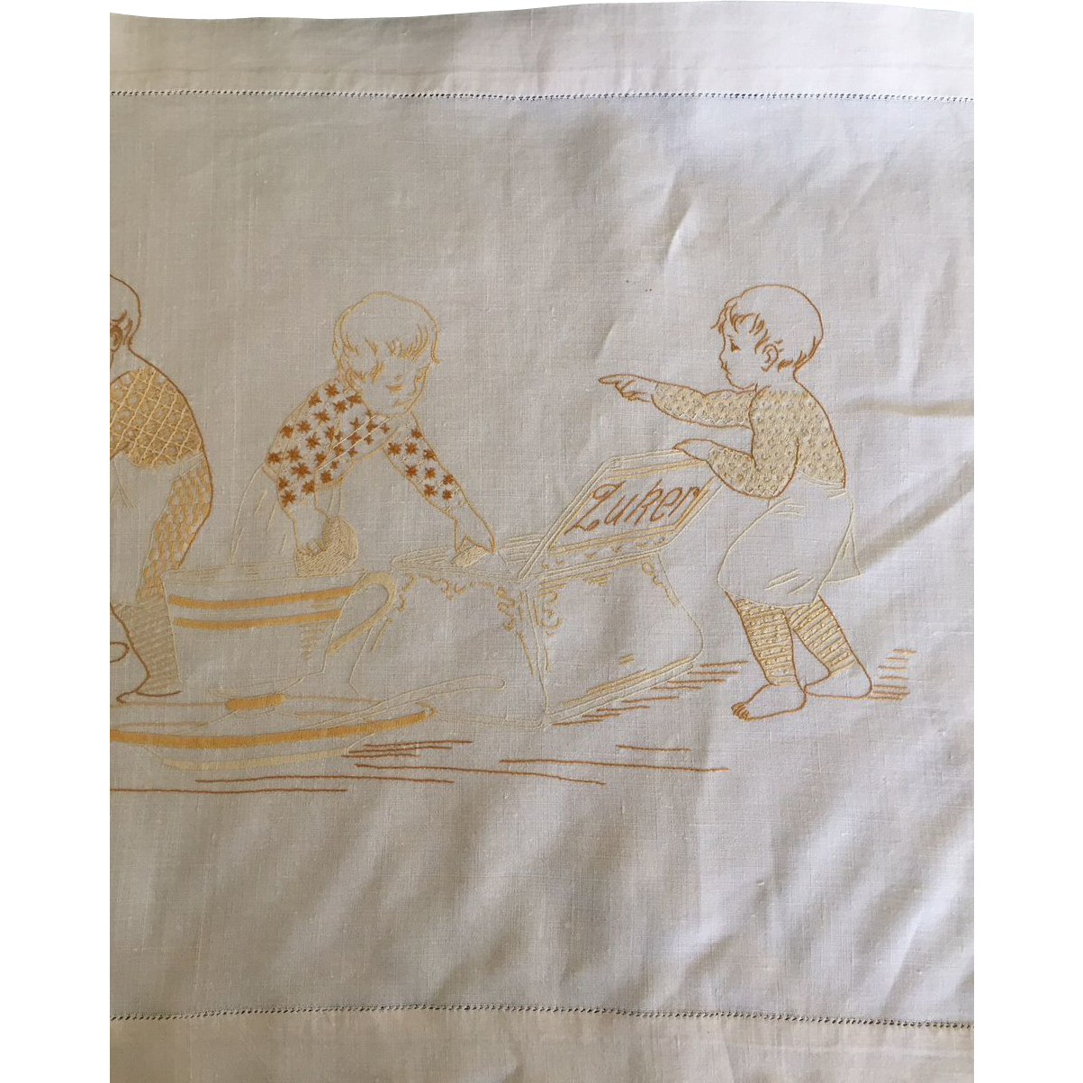 Antique German linen buffet cloth children with oversized tea service unusual charming
