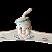 Vintage Nursery Clothes Hanger Sailor Boy Hard Plastic