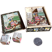 Antique Miniature Puzzle Blocks in Original Box -Amazing Petite Size Great Color and Images c.1880
