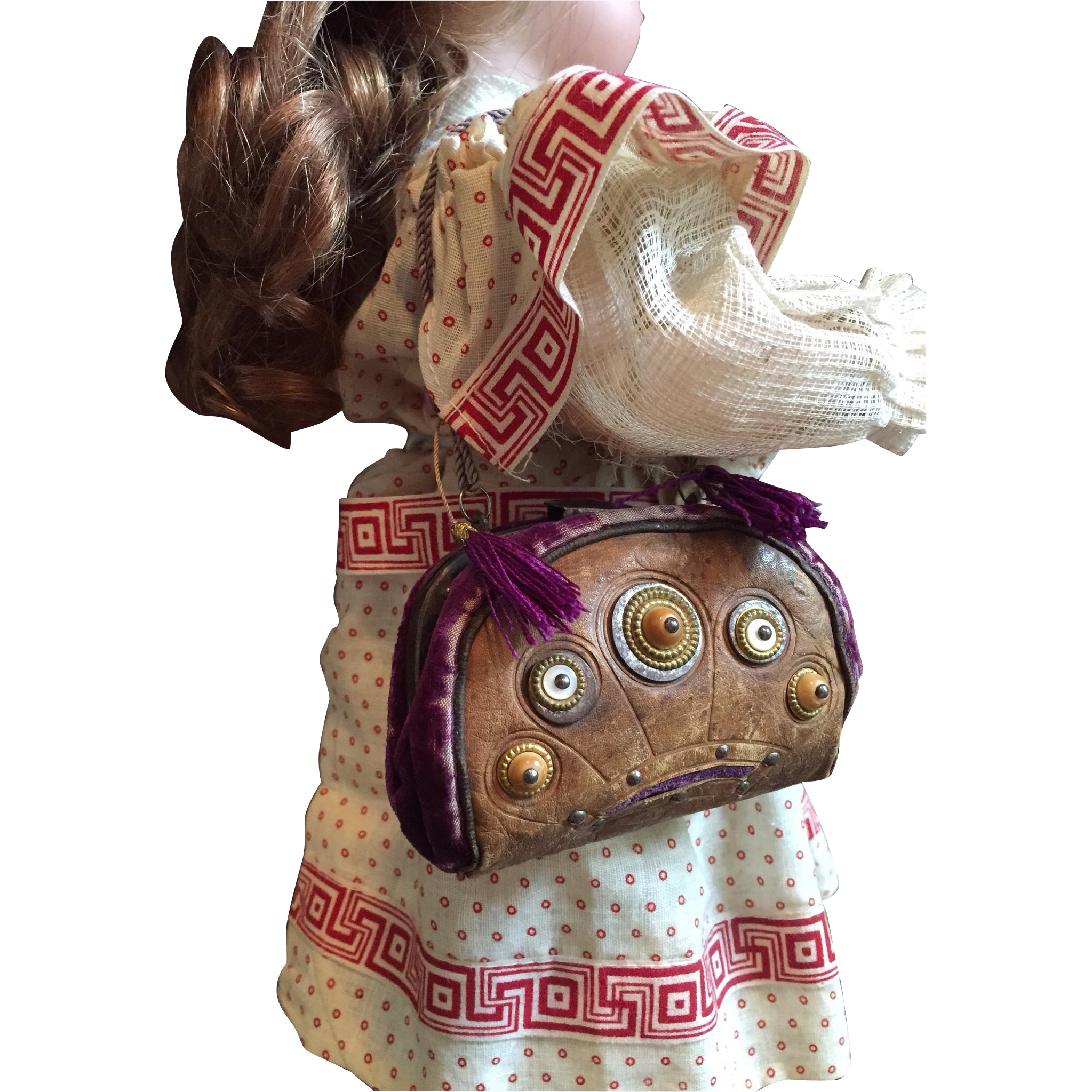Antique Doll Purse Silk, Velvet and Leather with studs, tassels c.1875