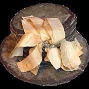Antique Doll Hat Elegant Teal Velvet Silk Ribbon Cut Steel Trim c. 1870