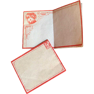 Perfect Petite Stationary Antique Red Printed on Cream - Very Scarce Size and Age