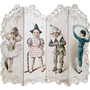 Miniature Folded Paper Screen Die Cut Costumed Children