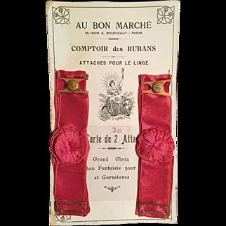 Victorian Ladies  Garters Au Bon Marche Card Rose Silk