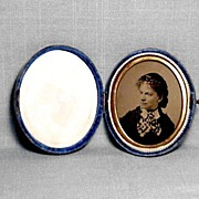 Oval Blue Velvet Case w/Photo c.1880