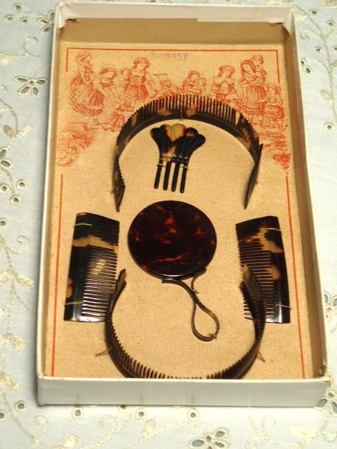 Antique Doll Combs German Set Stitched in Wonderful Box MIB