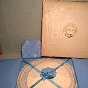 Antique French Baby Bib Still Tied in Box Elegant Presentation