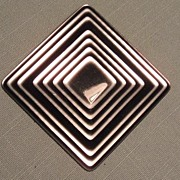Vintage Lea Stein  Brooch - Black and Silver Square - Modern Art Look
