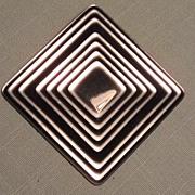 Vintage Lea Stein  Brooch - Black and Silver Square - Modern Art Look