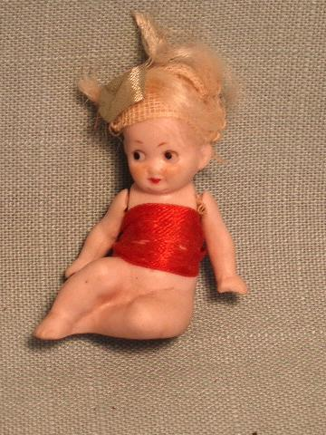 Antique All Bisque Doll Little Bather Type Child - All Original