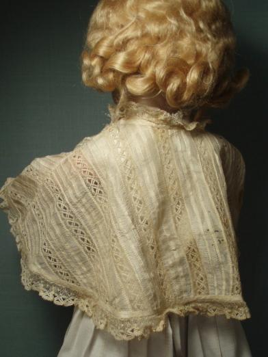 Antique Doll Cape French Cream Silk and Lace Fine Tucking