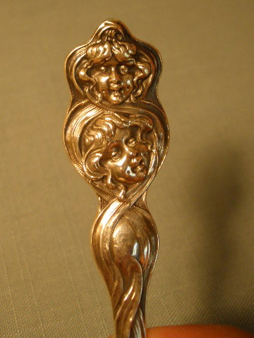 Sterling Spoon Unger Brothers Two Faces Art Nouveau