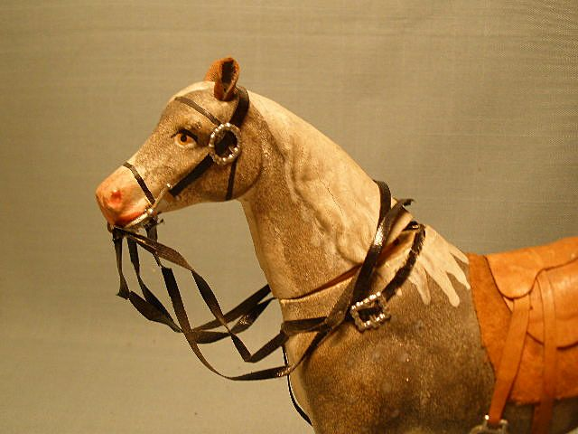 Antique  Candy Container Dapple Grey Horse Complete Tack- Great Look