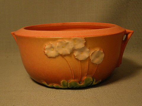 Gorgeous Roseville Pottery Handled Bowl 'Primrose' Mint Condition Pink