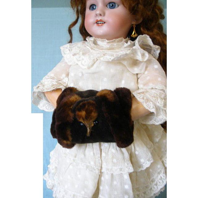 Antique Doll Muff Fur Velvet Real Pelt C.1880