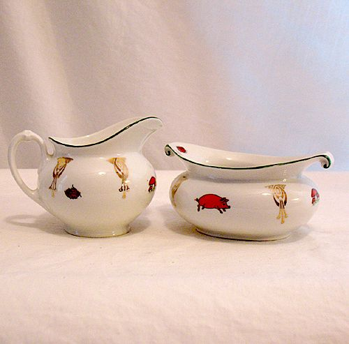 Vintage Collectible Porcelain Sugar & Creamer Set Signed M.Z. Austria 1884-1909 MINT