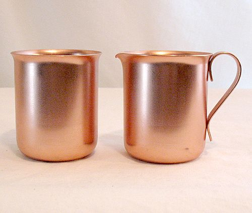 Vintage Collectible Anodized Aluminum Sugar & Creamer Set~Color Craft~UNUSED~MINT