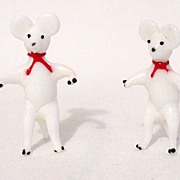 Vintage Collectible Occupied Japan Miniature Glass Mice Figurines from 1946-51 MINT