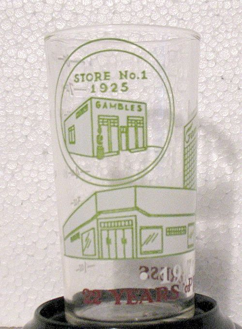 Vintage Collectible Gambles Advertising One Cup Measuring Glass Celebrating 22 Years In 1947
