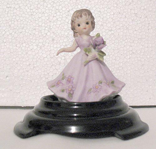 Vintage Collectible Bisque Porcelain Girl Figurine Holding A Bouquet 1960-70s Mint