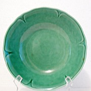 "Vintage Collectible Mount Clemens Round Dark Green Vegetable Bowl 8 ½"" Petal Ware Pattern~1930-50"