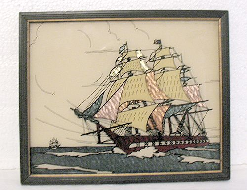 Unique Vintage Collectible Silhouette With Foil Backing War Ship Under Full Sail 1930-50s