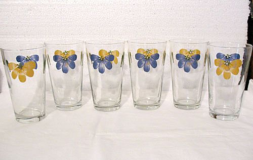 20% OFF Vintage Collectible (6) Retro Libby Tea/Lemonade Glasses with Floral Decals 1950-60s