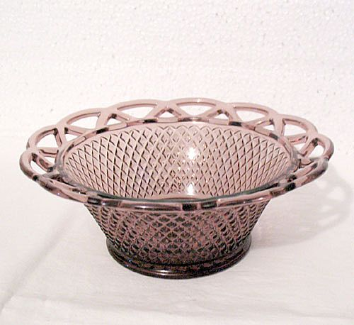 "Vintage Collectible 7 ¼ "" Burgundy/Amethyst  Glass Fruit Bowl by Imperial Glass Co in The Laced Edge Pattern from 1950-60s Mint"