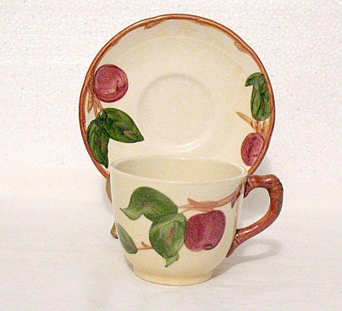 Vintage Collectible Cup & Saucer Set by Gladding McBean & Co. In The Franciscan classic Apple Pattern 1940s