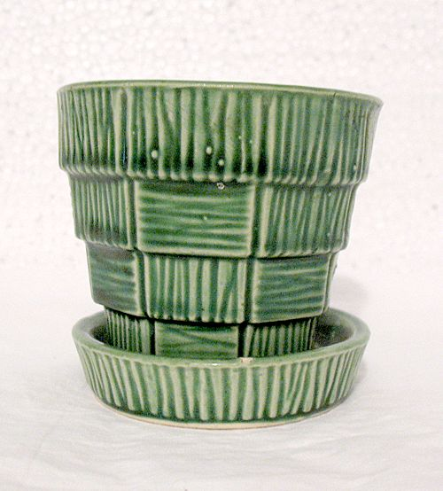 Vintage Collectible McCoy Pottery Basket Weave Design on Green Flower Pot & Saucer 1950-60s