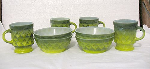 Vintage collectible two breakfast sets of Anchor Hocking Fire King green bowls and cups of the Kimberley pattern from the 1950-60s.