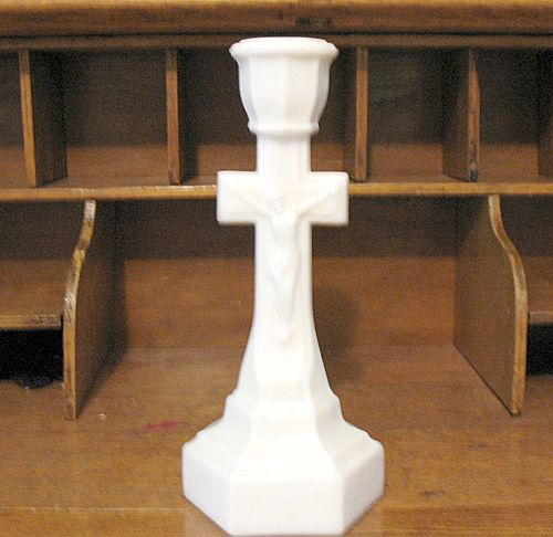 Vintage Collectible Opal Crucifix Candleholder By Cambridge Glass Co. 1890-1920 Mint