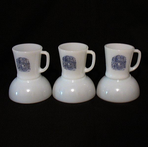 Vintage Collectible Anchor Hocking Fire King 3-Breakfast Sets with Currier & Ives Decals 1950-60s Mint Unused Condition
