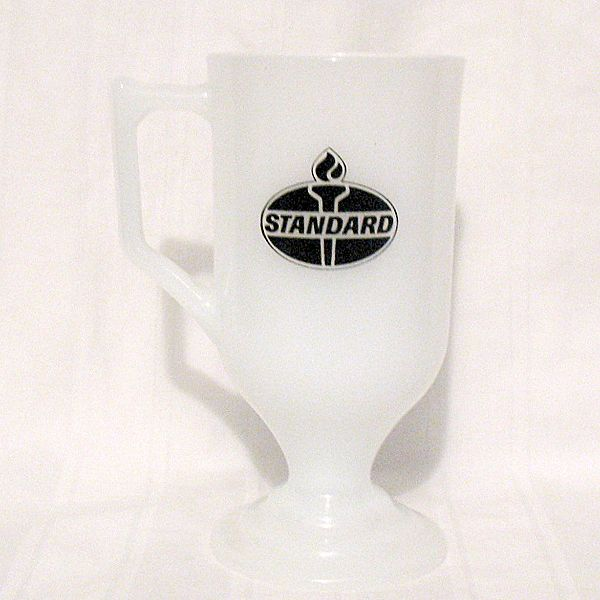 20% OFF Vintage Collectible Milk Glass Advertising Pedestal Mug by Amoco Standard Miss Amoco1960-70s Mint