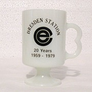 Vintage Collectible Advertising Pedestal Dresden Milk Glass Mug Commonwealth Edison Nuclear Power Plant 1959-1979~Anniversary Mint