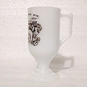 Vintage Collectible  Advertising Souvenir Milk Glass Pedestal Mug for Crazy Horse Mt. Monument Black Hills, S.D. 1960-70s Mint