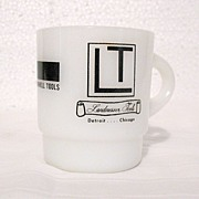 Vintage Collectible Anchor Hocking Fire King Advertising Stackable Milk Glass Mug for LT Landmesser Tools 1960-70s Mint