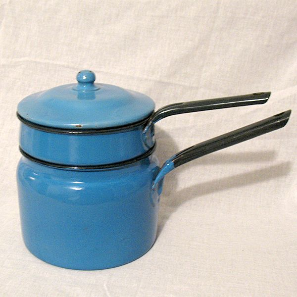 Vintage Collectible All Blue Granite Ware Double Boiler With Black Trim & Knob Finial 1930s