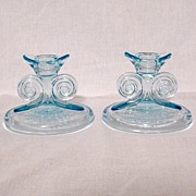 Vintage Collectible Fostoria June Etching Azure Blue Single Scroll Pair Candleholders 1929-1932 Mint Unused Condition