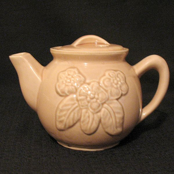 Vintage Collectible Embossed Floral Pink T-Pot Marked 5F USA 1930-40s