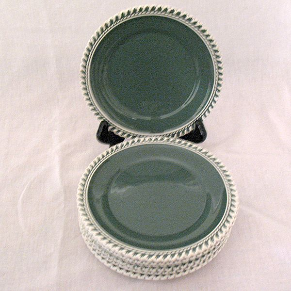 "Vintage Collectible (7) 6 1/4"" Bread & Butter Plates~Harker~Chesterton Olive Green Pate-Sur-Pate Pattern 1950s Mint Unused Condition"