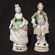 Vintage Pottery Occupied Japan Large Colonial Figurines Late 1940s Early 1950s