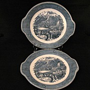 "Vintage Collectible 2-Royal China Currier & Ives 10 1/2"" Tab Handled Chop Plates~Rocky Mts Scene 1950s Mint Unused Condition."