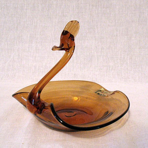 Vintage Pilgrim Hand Blown Glass Swan Dishes Smoke Crystal 1960s Mint Condition~Original Tags