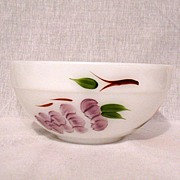 "Vintage Collectible Fire King Mixing Bowl 7 3/8"" Hand Painted Fruit On Anchor White by Gay Fad Studios Mint Unused Condition 1945-1963"