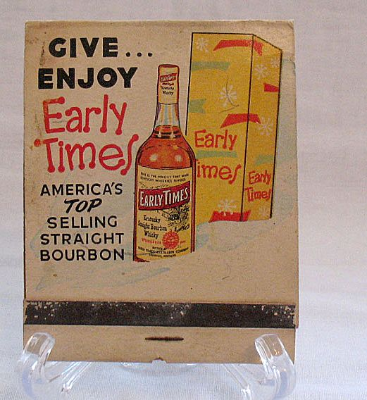 Vintage Collectible Large Advertising Match Book Early Times Whiskey 1950-60s Very Good Condition