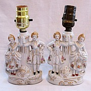 Vintage Collectible Vanity Lamps Colonial Couple