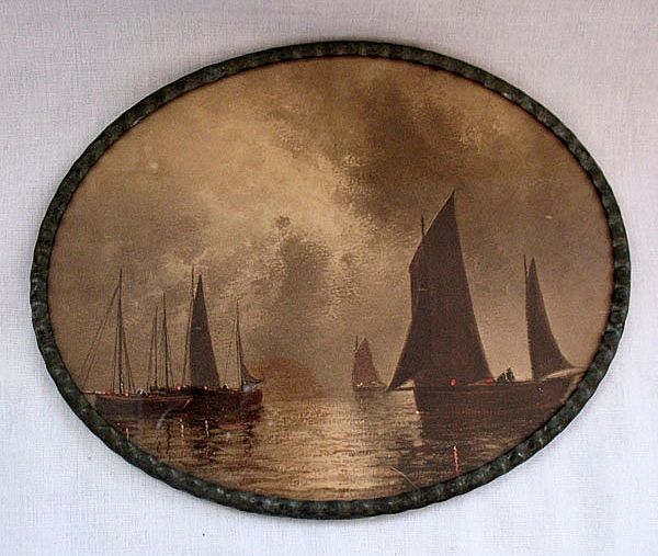 Vintage Collectible Oval Print of Ships Resting In The Water Before The Storm Made In Germany 1880-1920 Excellent Condition