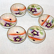 Vintage Collectible  Porcelain Nippon Hand Painted Round Open Salt Cellars 3-Footed 1890-1921 X 6