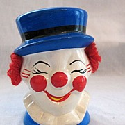 Vintage Pottery Clown Still Bank 1970s Excellent Condition